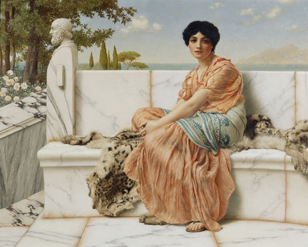 Sappho of Lesbos, depicted in a 1904 painting by John William Godward (英國畫家約翰·威廉·格威德筆下的女性油畫作品—詩人莎芙)